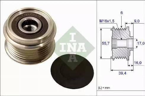 INA 535006010 - Alternator Freewheel Clutch uk-carparts.co.uk