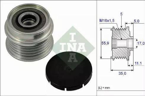 INA 535000510 - Alternator Freewheel Clutch uk-carparts.co.uk