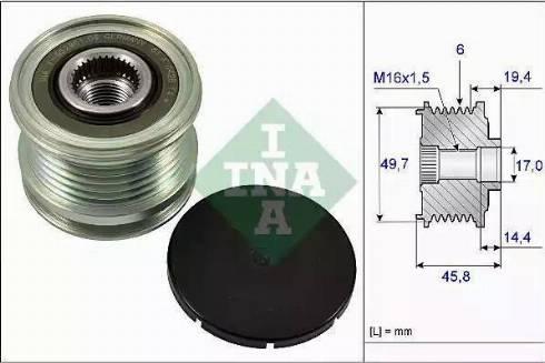 INA 535016810 - Alternator Freewheel Clutch uk-carparts.co.uk