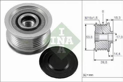 INA 535017010 - Alternator Freewheel Clutch uk-carparts.co.uk