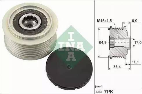 INA 535029410 - Alternator Freewheel Clutch uk-carparts.co.uk
